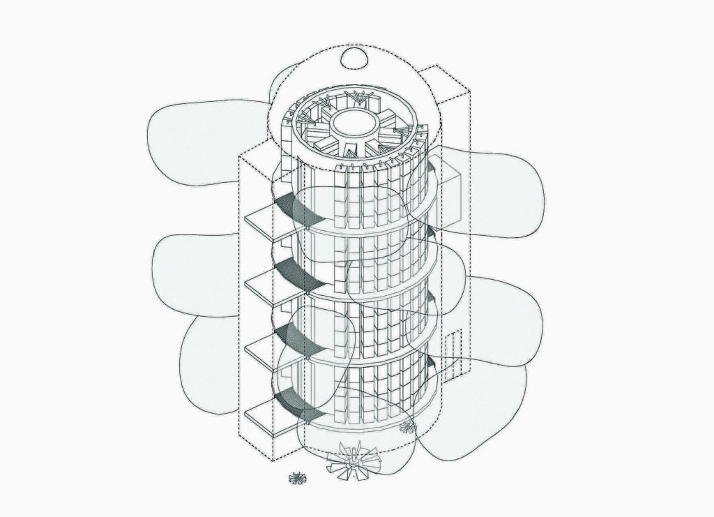 Reimagined patent for the collective ownership of data and housing based around a multi-storey data centre unit. Image: Jane Chew & Matthew Stewart, 2017