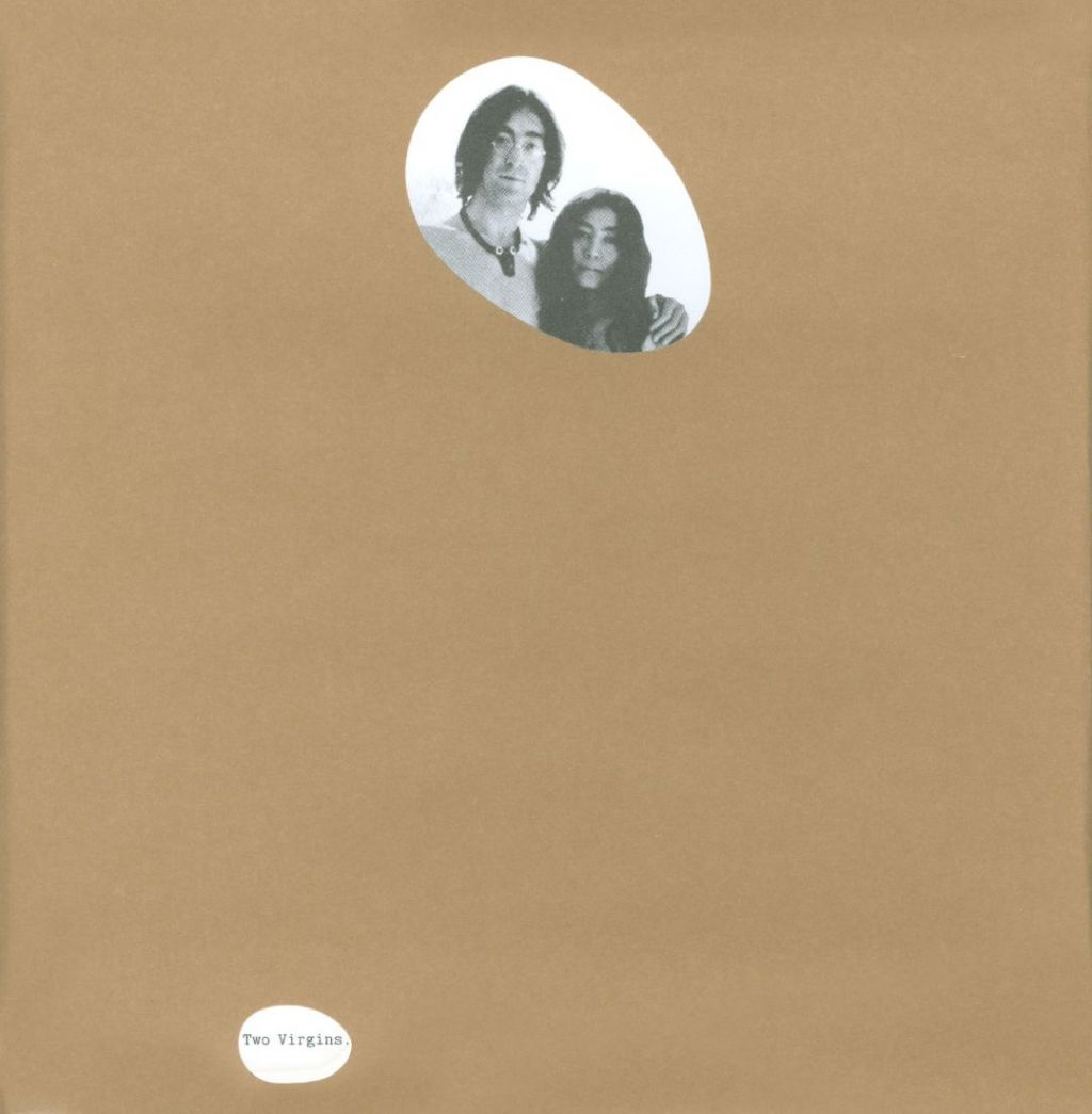 Front cover of Unfinished Music No. 1: Two Virgins album covered in brown paper for USA distribution
