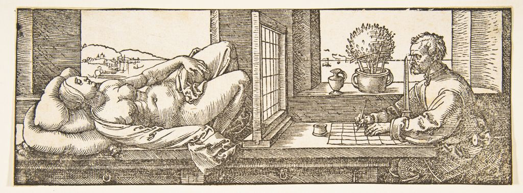 Albrecht Dürer, Draughtsman making a Perspective Drawing of a Reclining Woman, ca. 1600.