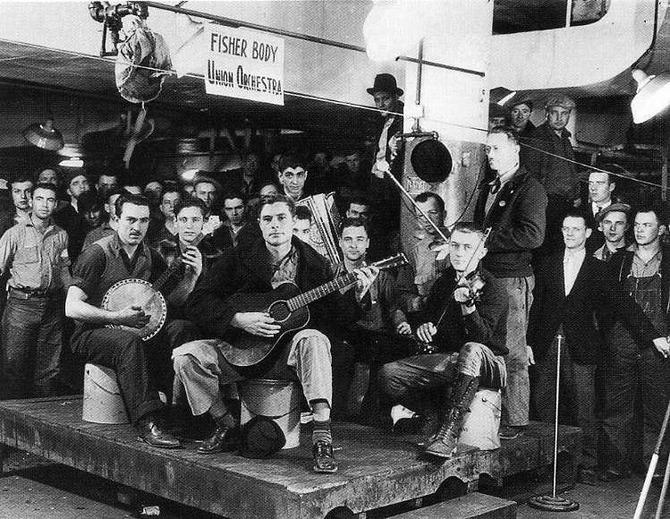 Sit-in strike at General Motors, Flint, Michigan, 1936. Photo: Fisher Body Union Orchestra.